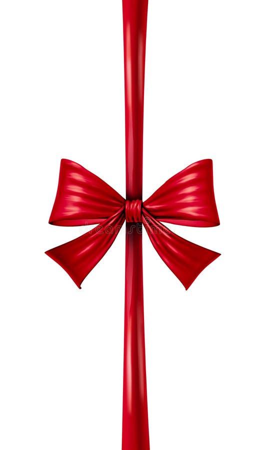 红色垂直的丝带弓 向量例证
