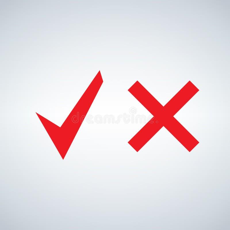 红色壁虱和发怒标志 按钮为投赞成票和不 向量例证