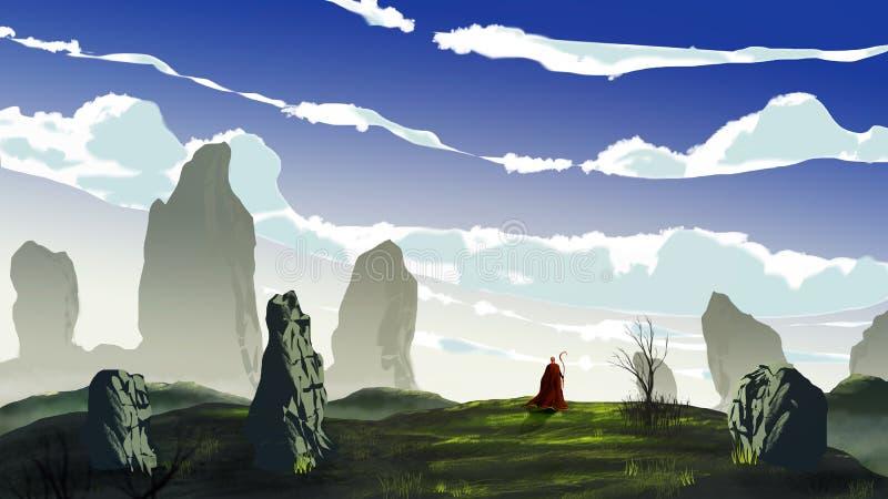 红色外套步行的魔术师在有大石头、树和多云天空的草甸 数字绘画,3D翻译 皇族释放例证