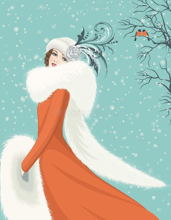 红色外套的妇女 向量例证