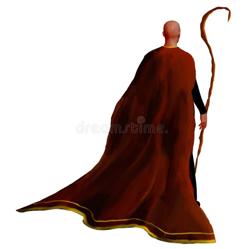 红色外套的魔术师有木杆的,隔绝在白色背景 数字绘画,3D翻译 皇族释放例证