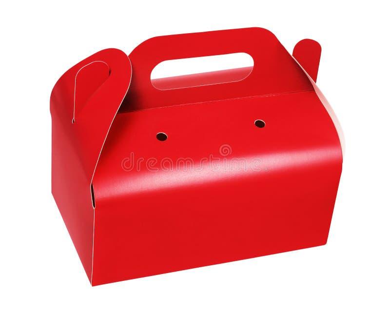 红色外带的蛋糕盒 免版税图库摄影