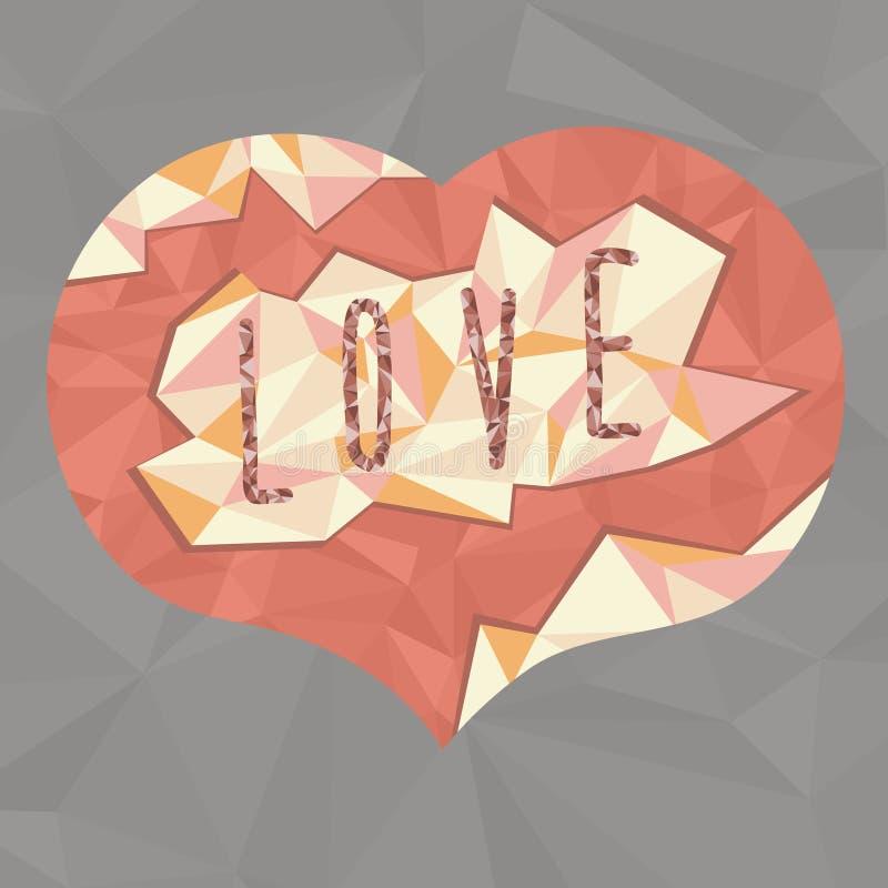 红色多角形心脏 免版税库存图片