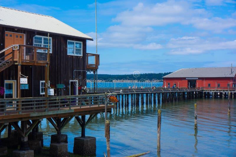 红色大厦码头Coupeville惠德比岛 免版税库存图片