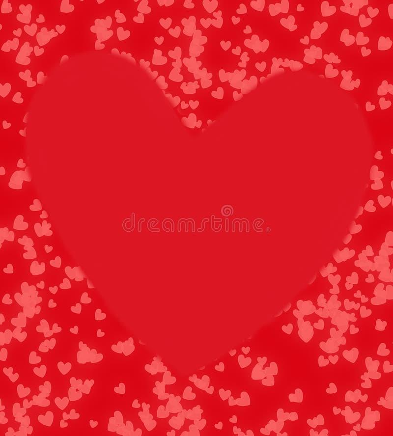 红色大心脏bokeh 免版税库存图片