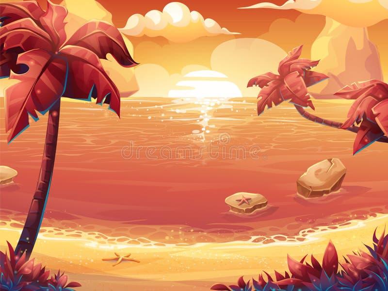 绯红色太阳、日出或者日落在海有棕榈树的 向量例证