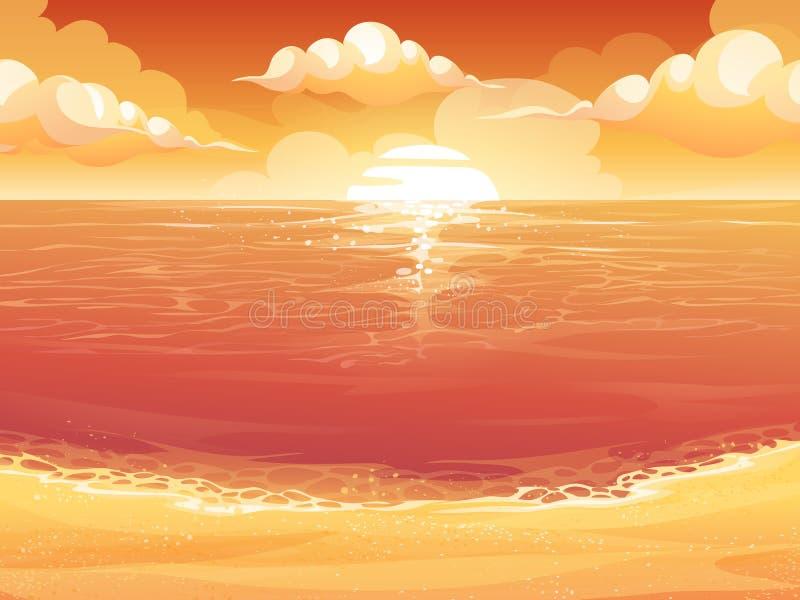 绯红色太阳、日出或者日落在海 皇族释放例证