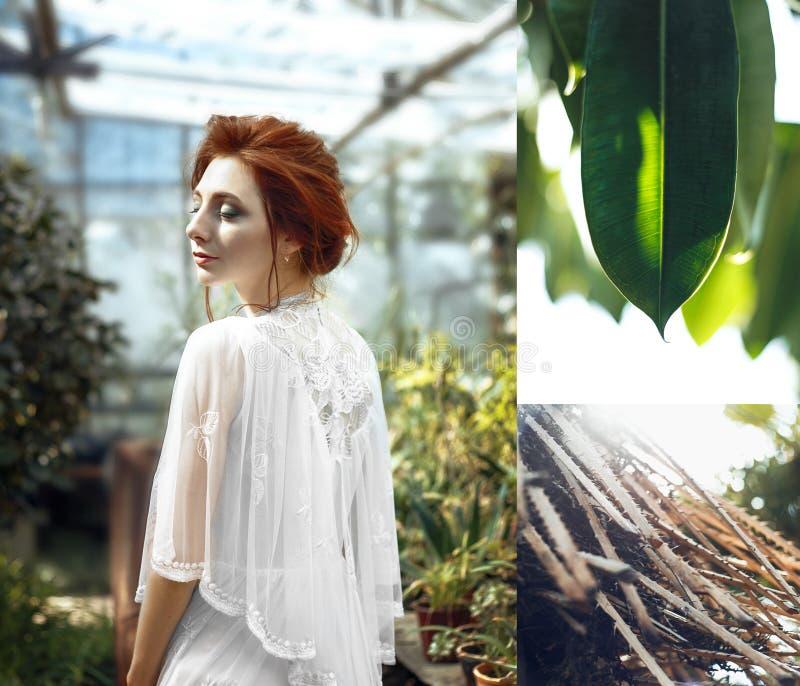 红色头发女孩绿色叶子拼贴画 免版税库存图片