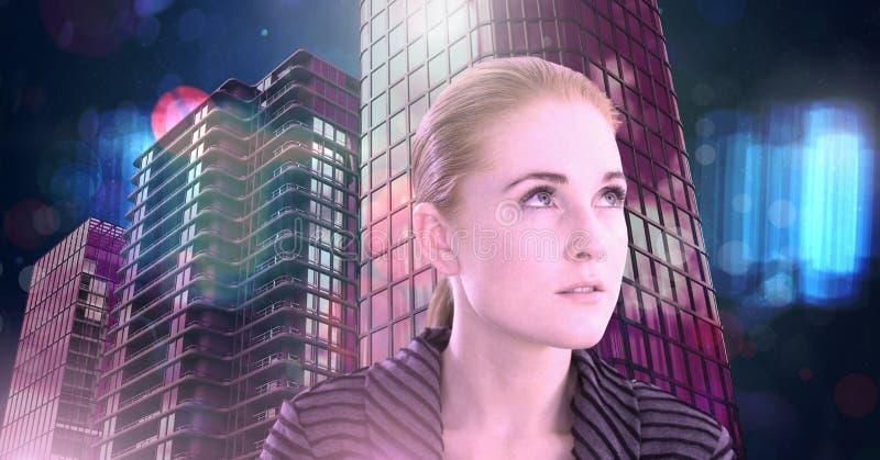 红色头发妇女在霓虹未来派城市 免版税库存图片