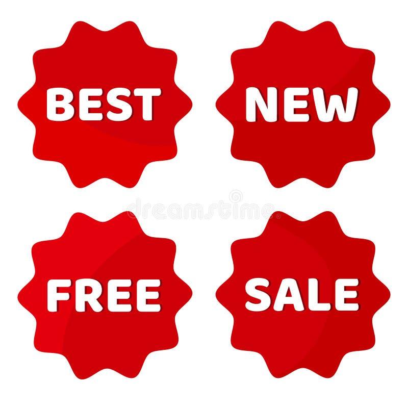 红色套与白色题字最好,新,自由,销售的标签 r 库存例证
