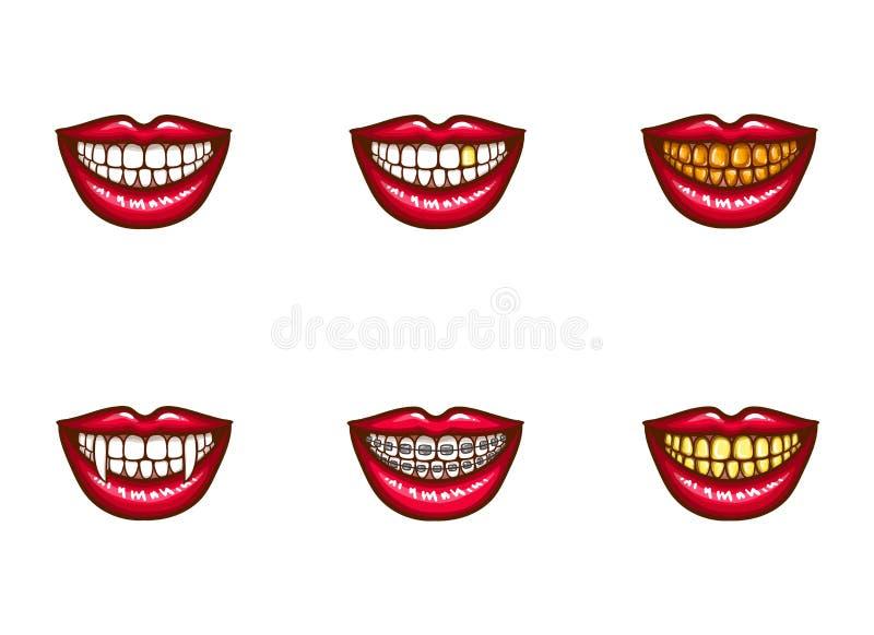 红色女性嘴唇Clipart牙齿设计的 向量例证