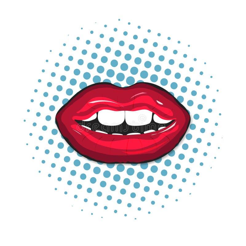 红色女性嘴唇特写镜头 在流行音乐艺术背景的五颜六色,减速火箭的例证 与牙和嘴唇的嘴 向量例证