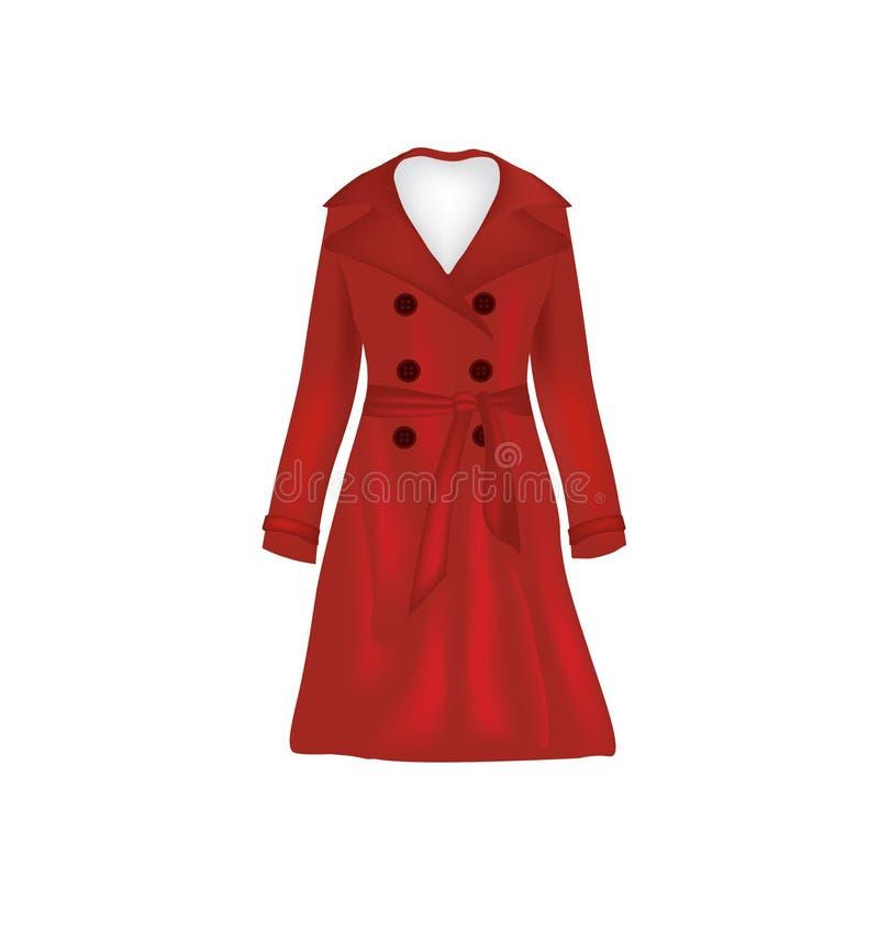 红色妇女典雅的外套 库存例证
