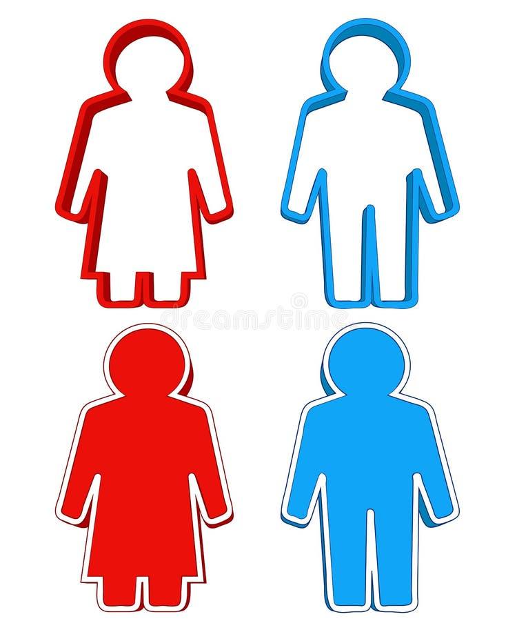 红色妇女和蓝色人3d象结合传染媒介 皇族释放例证