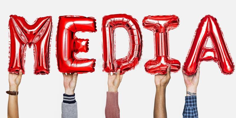红色字母表氦气迅速增加形成文本媒介 免版税图库摄影