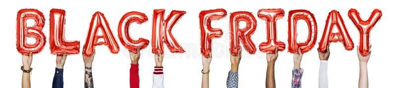 红色字母表迅速增加形成词黑色星期五 免版税库存图片