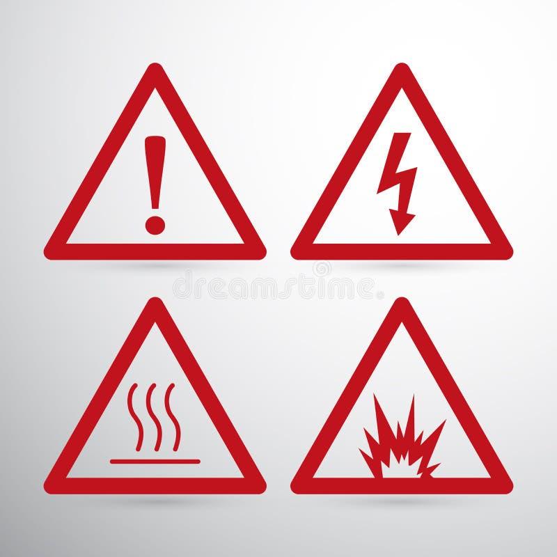 红色小心危险标志 危险等级符号警告 背景钝齿轮例证查出的白色 皇族释放例证
