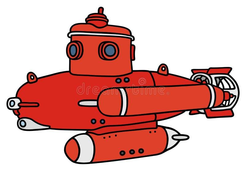 红色小潜水艇 库存例证