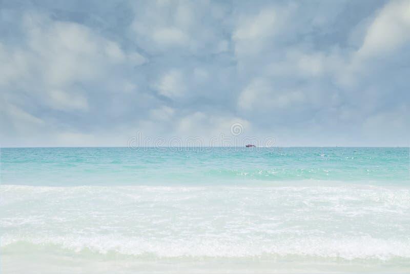红色小船很远在海,好的蓝天在度假 库存照片