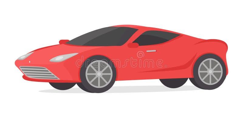 红色小轿车在白色隔绝的详述的跑车 库存例证