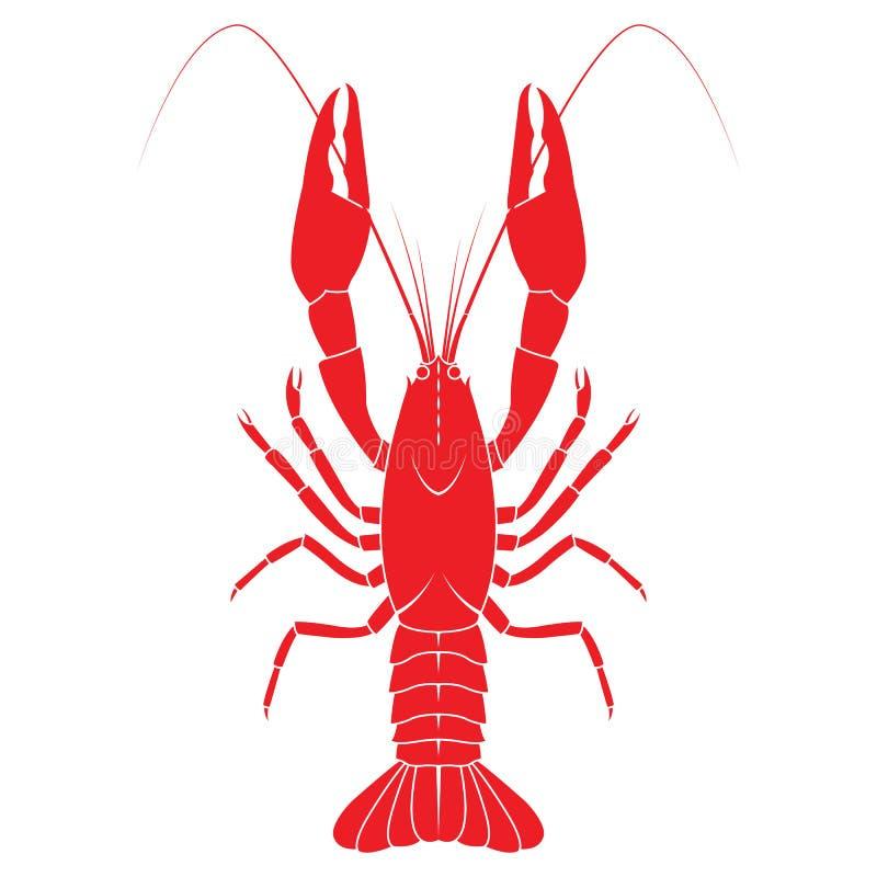 红色小龙虾导航在白色backgrou的平的例证 向量例证