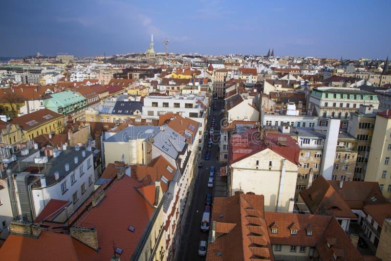 红色屋顶的顶视图,市的全景布拉格捷克 免版税库存图片