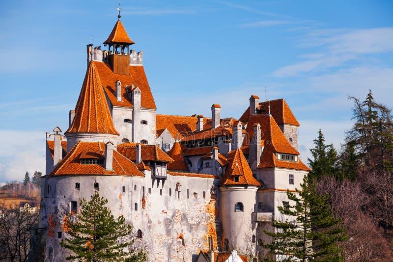 红色屋顶麸皮城堡(德雷库拉城堡) 库存照片