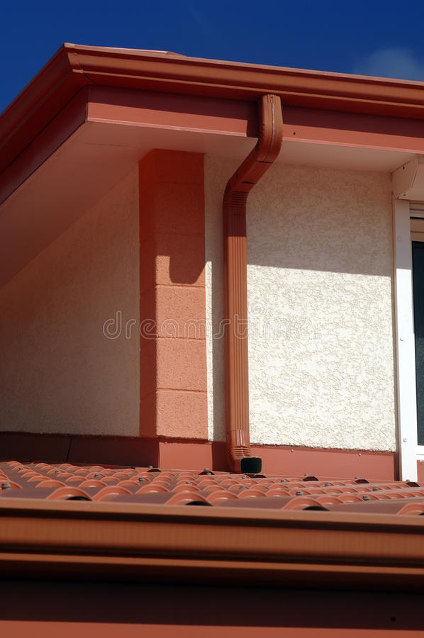 红色屋顶细节  库存照片