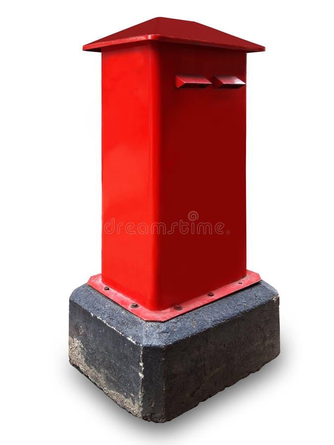 红色岗位箱子隔绝了与裁减路线的白色背景 库存照片