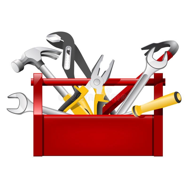 红色工具箱工具箱 皇族释放例证