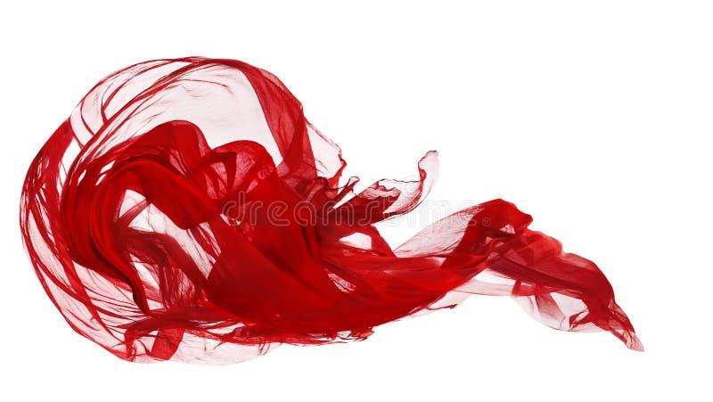 红色布料被隔绝在白色背景,织品结冰行动,挥动的飞行纺织品 免版税库存照片