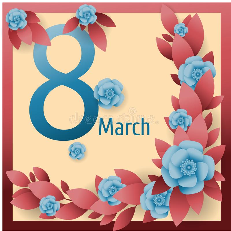 红色布料, drape8 3月 与花的愉快的妇女` s天卡片和框架 导航招呼ry,丝绸,背景,传染媒介例证 库存例证