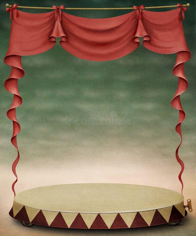 红色帷幕和阶段。 向量例证