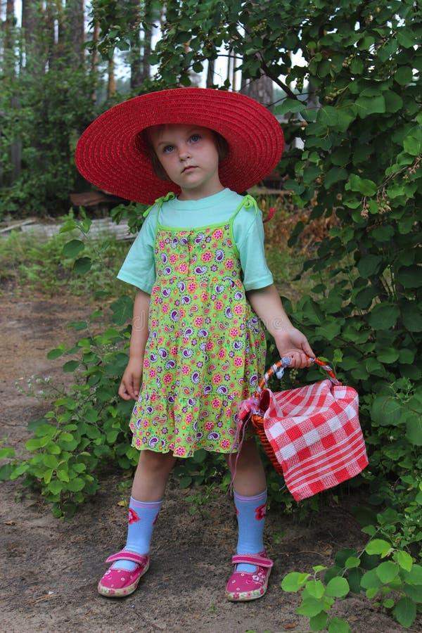 红色帽子和篮子的女孩 免版税库存图片