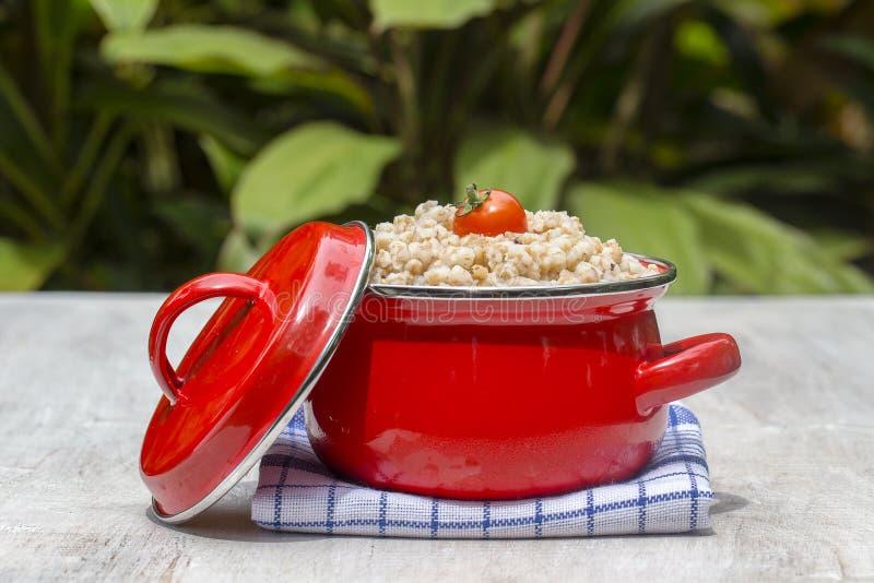 红色平底锅用麦子粥-传统膳食在乌克兰、白俄罗斯和俄罗斯 免版税库存图片