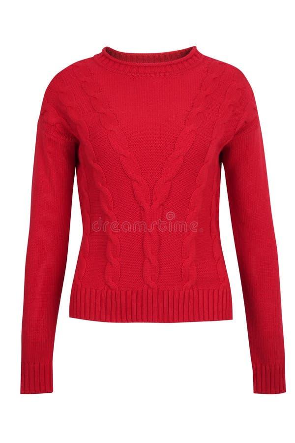 红色开士米或羊毛缆绳毛线衣 库存照片