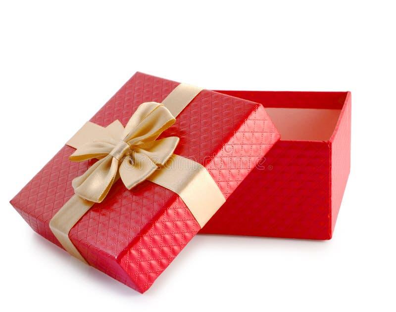 红色开放空的礼物盒裁减路线 免版税库存照片