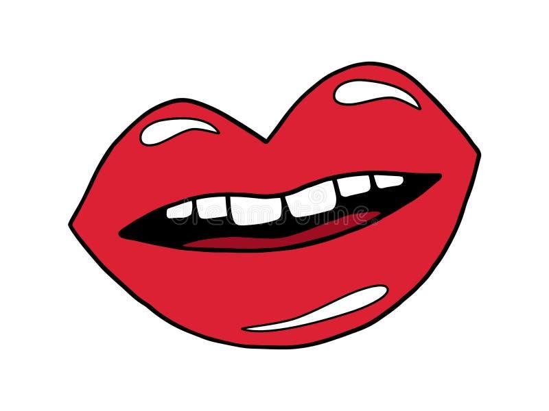 红色开放嘴唇 皇族释放例证