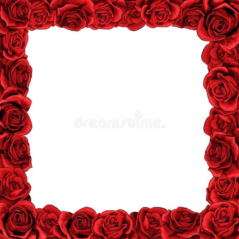 红色开花框架为贺卡、婚礼或者情人节上升了花 皇族释放例证
