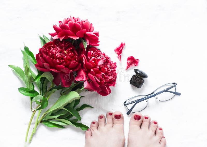 红色开花牡丹,与红色修脚的美好的女性脚,玻璃,在轻的背景,顶视图的香水 被设色的背景秀丽蓝色概念容器装饰性的深度详细资料域充分的仿效宏观自然超出珍珠浅天空 虚拟 免版税库存照片