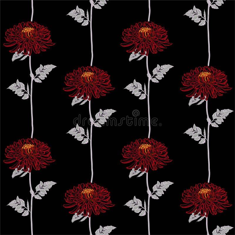 红色开花的菊花线镶边了在传染媒介设计的无缝的样式时尚、织品、网、墙纸和所有印刷品的 向量例证