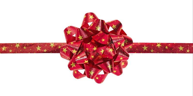 红色弓顶视图与在白色背景隔绝的特征模式的 礼物盒的美丽的丝带 裁减路线 库存图片