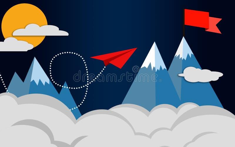 红色往红旗的纸平面飞行 向量例证