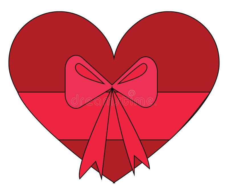 红色心形礼盒,上面有粉红色弓形矢量图 库存例证