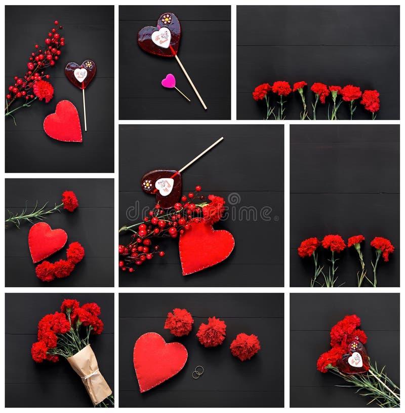 红色心脏、康乃馨和棍子糖果静物画  库存图片