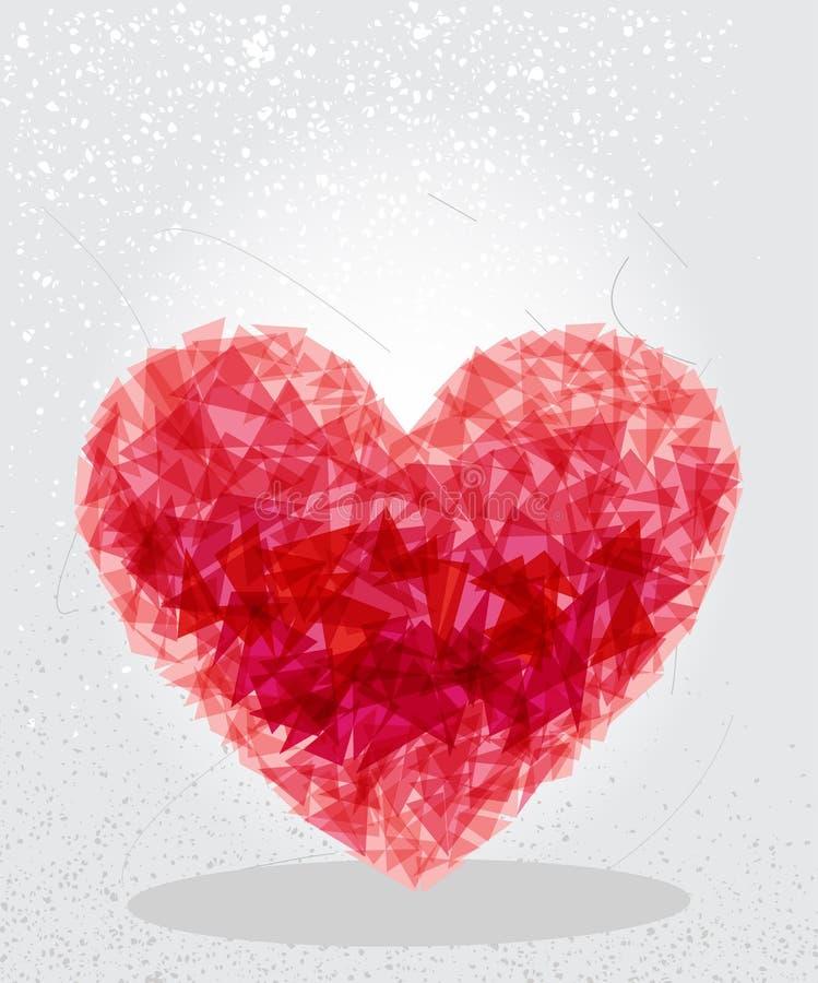 红色心脏几何形状。 库存例证