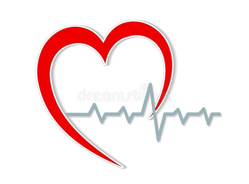 红色心脏剪影和心电图在白色,储蓄传染媒介illus