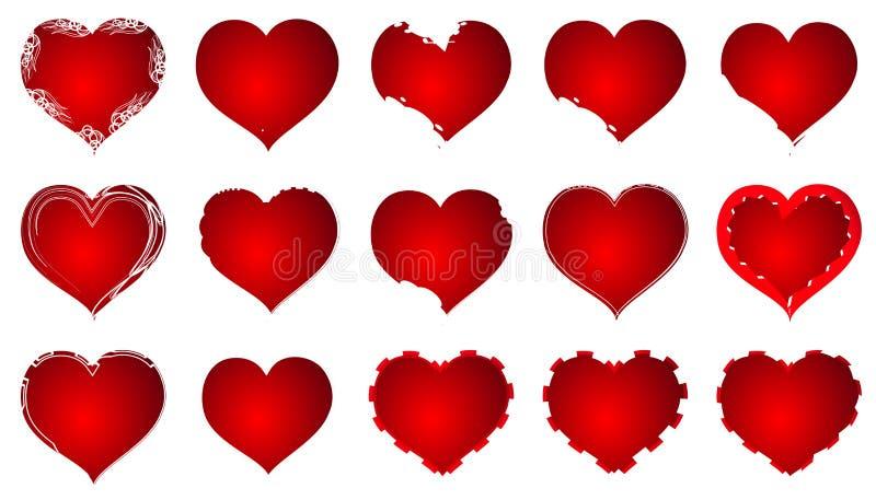 红色心脏华伦泰爱商标传染媒介 免版税图库摄影