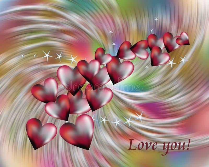 红色心脏和星在五颜六色的背景 爱图象 向量例证