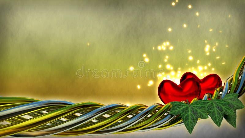 红色心脏和闪闪发光闪烁作用 向量例证